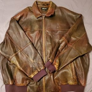 MARC BUCHANAN PELLE PELLE BROWN LEATHER JACKET